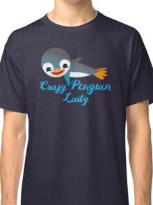 Crazy penguin lady (with cute flying emperor penguins) Classic T-Shirt