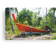 Jungle and boat wreck Canvas Print