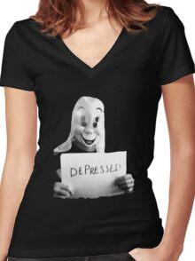 Depressed Smile Women's Fitted V-Neck T-Shirt