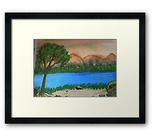Countryside by the rivers path, watercolor Framed Print