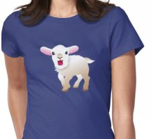 white baby goat  Womens Fitted T-Shirt