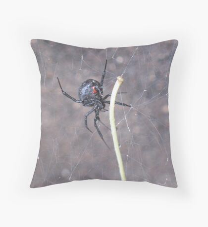 Busy Black Widow Throw Pillow