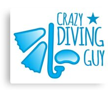 Crazy Diving guy (with snorkel and mask) Canvas Print