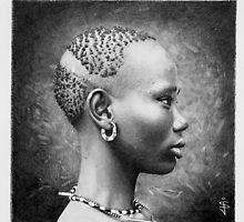 African Girl - pencil study by Jan Szymczuk