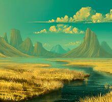 Sunset on savannah by Roberto Nieto