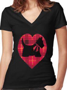 Tartan Scottie T~Shirt Women's Fitted V-Neck T-Shirt