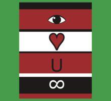 Eye heart u infinity - Red, black, white Kids Tee
