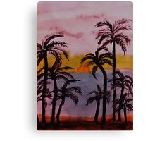 Sunset on the West Coast, watercolor Canvas Print