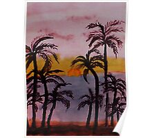 Sunset on the West Coast, watercolor Poster