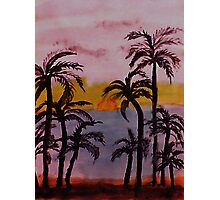 Sunset on the West Coast, watercolor Photographic Print