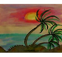 Windy Sunset seen thru the Palm Trees, watercolor Photographic Print