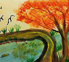 Walking Bridge in the Fall, watercolor by Anna  Lewis, blind artist