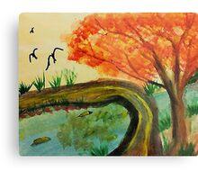 Walking Bridge in the Fall, watercolor Metal Print