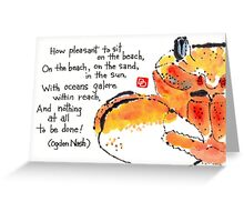Happy Crab (On the Sand, In the Sun) Greeting Card
