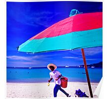 Sunshade and vendor on Patong Beach, Phuket, Thailand Poster