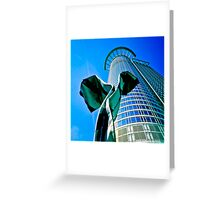 Modern office building with sculpture in Frankfurt, Germany Greeting Card