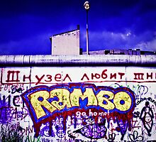 'Rambo' graffiti on famous Berlin Wall in 1983, Germany by ingojez