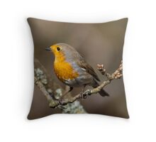 Robin in the woods Throw Pillow