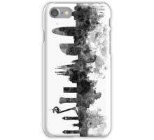 Barcelona skyline in black watercolor iPhone Case/Skin