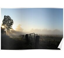 Burning off the Mist - Echuca Poster