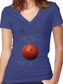 Missing - Orange Women's Fitted V-Neck T-Shirt