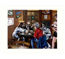 'Elvis & Jesus at the Sports Bar' Art Print
