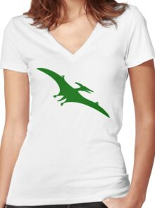 Pterodactyl Dinosaur  Women's Fitted V-Neck T-Shirt
