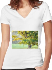 The misty tree Women's Fitted V-Neck T-Shirt