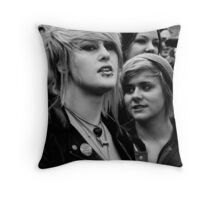 Two Girls at Protest Throw Pillow