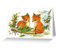 Darling Vintage Winter Foxes Greeting Card