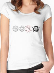Supernatural Protection (Dark Symbols) Women's Fitted Scoop T-Shirt