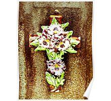 Ceramic Flower on Cross Poster