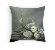 Baseballs and Spring Blossoms Throw Pillow