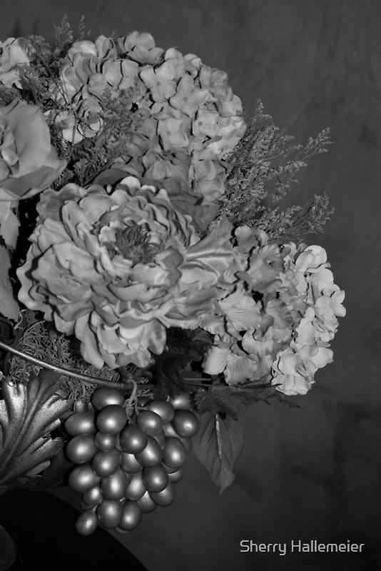 Elegant Bouquet Flower - Black & White by Sherry Hallemeier