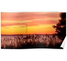 Sailboat Safely Moored At Sunset  Poster