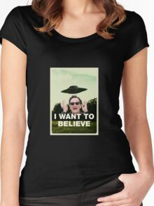 I Want To Believe in QT Women's Fitted Scoop T-Shirt