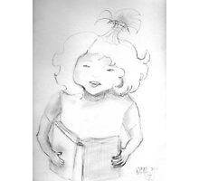 sketch of a girl reading Photographic Print