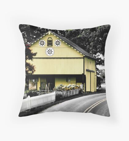 Yellow Barn on a Country Road Throw Pillow