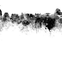 Rio de Janeiro skyline in black watercolor by paulrommer