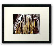 charred pines..... burned out hillside Framed Print