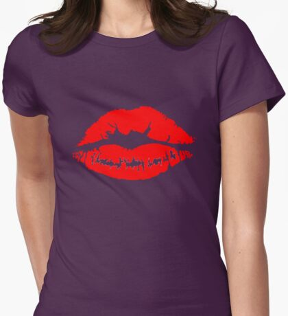 Lip Stick Kiss Womens Fitted T-Shirt