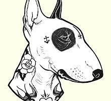 Tattooed Bullterrier by PaperTigressArt
