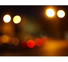 Abstract blurred night scene on city road Photographic Print