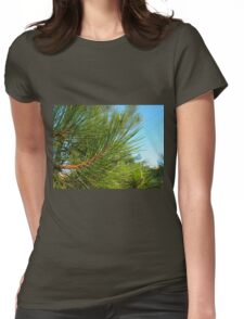 Side view of a pine branch with long needles closeup Womens Fitted T-Shirt
