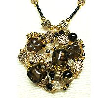Black and Gold Heart Pendant Photographic Print