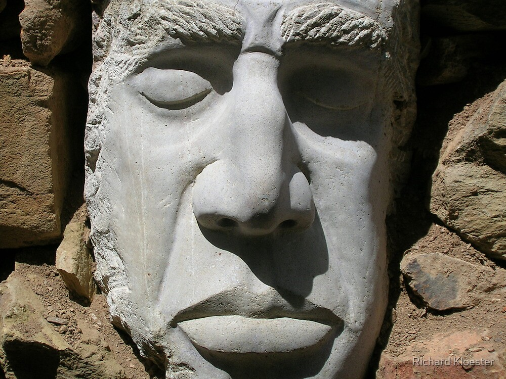 Ancient Guardian, carved in sandstone by Richard Kloester