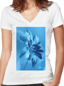 abstract flower Women's Fitted V-Neck T-Shirt