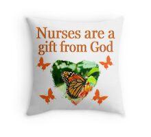 PRETTY BUTTERFLY CHRISTIAN NURSE DESIGN Throw Pillow