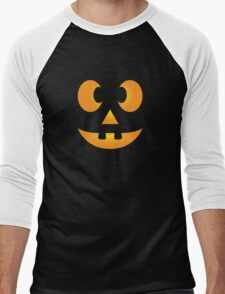 Funny Halloween Jack-O-Lantern Face Men's Baseball ¾ T-Shirt
