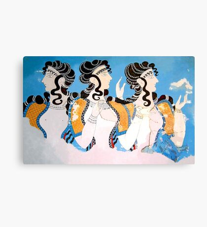 "Minoan ""Ladies in Blue"" Women Fresco Art Canvas Print"